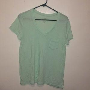 Light green V neck T-shirt